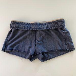 Lululemon fold over waist raw edged blue shorts